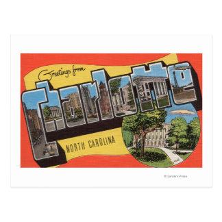 Postal Charlotte, Carolina del Norte - escenas grandes de