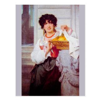 Postal Chica con la cesta de naranjas y de limones por la