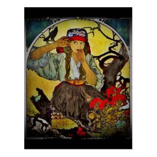 Postal Chica con un cuervo