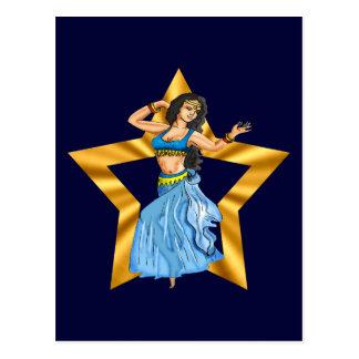 Postal Chica de danza del vientre de la estrella
