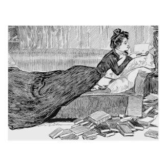 Postal Chica de Gibson que lee un libro