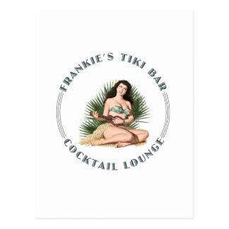 Postal Chica de Hula de la barra de Tiki de Frankie