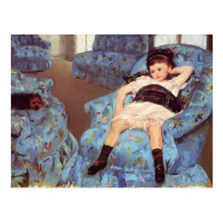 Postal Chica de Mary Cassatt en bella arte azul de la
