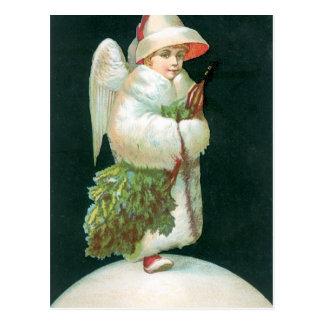 Postal Chica del ángel del navidad del vintage