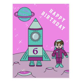 Postal Chica del astronauta en cumpleaños del espacio de