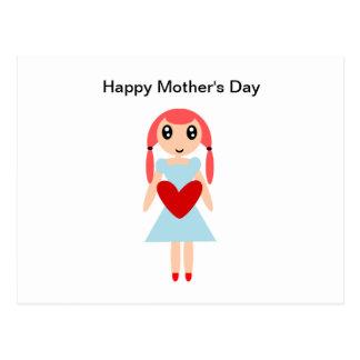 Postal Chica del día feliz de madre con el corazón
