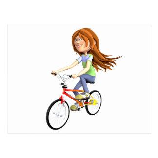 Postal Chica del dibujo animado que monta una bici