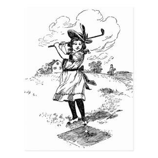 Postal Chica del golfista del vintage