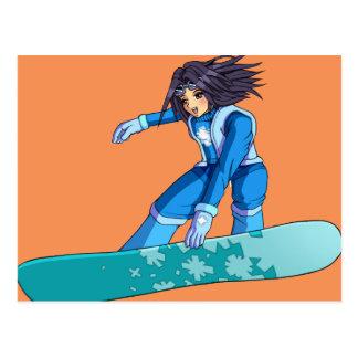 Postal Chica del Snowboarder de Manga