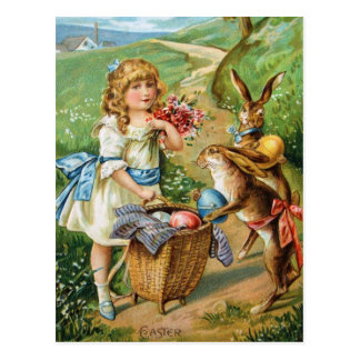 Postal Chica del Victorian con el poste de los conejitos