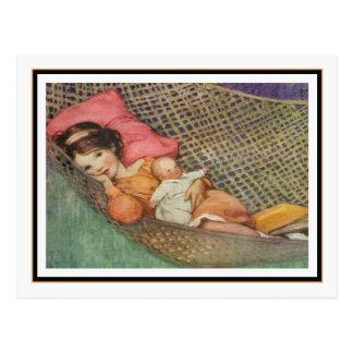 Postal Chica del vintage en hamaca de Jessie Willcox