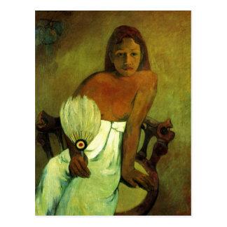 Postal Chica joven con el fan - Paul Gauguin
