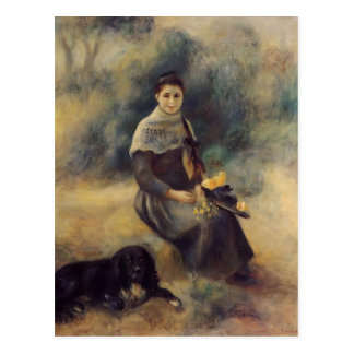 Postal Chica joven de Pedro-Auguste Renoir- con un perro