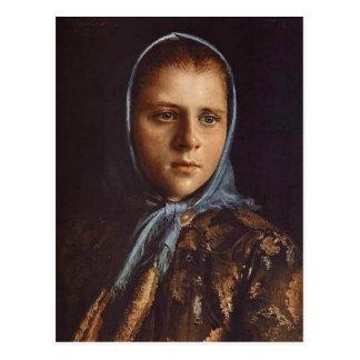 Postal Chica ruso de Ivan Kramskoy- en un mantón azul