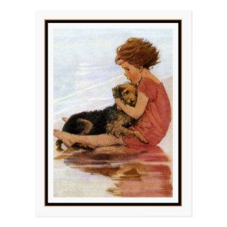 Postal Chica y perro del vintage de Jessie Willcox Smith