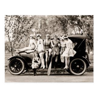 Postal Chicas de Mack Sennett que bañan el vintage del