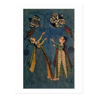Postal Chicas que vuelan las cometas, pintura popular de