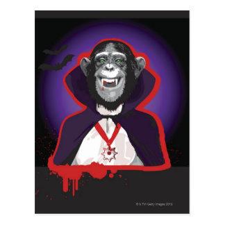 Postal Chimpancé en el traje de Drácula