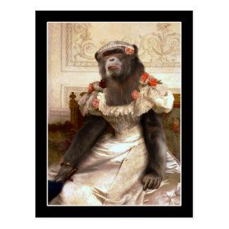Postal Chimpancé precioso en vestido