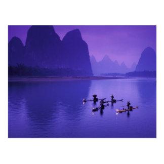 Postal China, río de Li. Pescadores del cormorán
