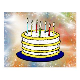 Postal Chispas brillantes de la torta del feliz
