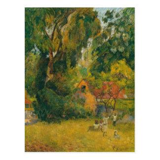 Postal Chozas debajo de los árboles de Paul Gauguin