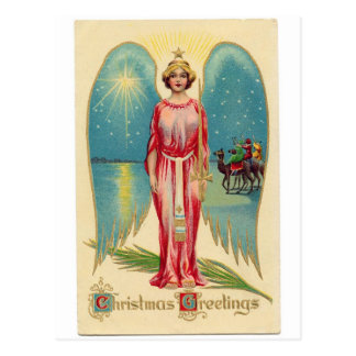 Postal Christmas angel with decorative wings