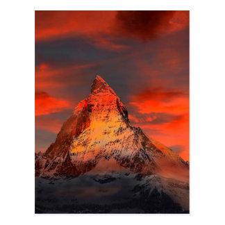 Postal Cielo del rojo de Suiza Cervino Zermatt de la