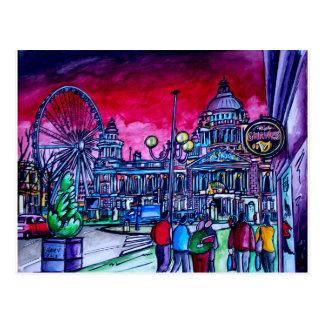 Postal Cielo rojo sobre ayuntamiento Belfast