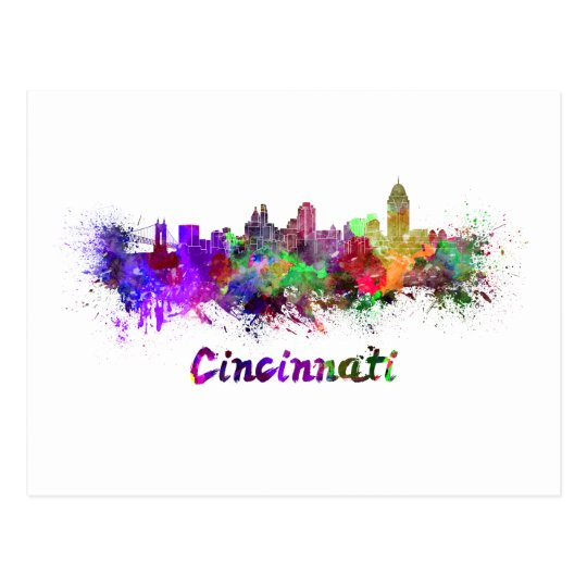 Postal Cincinnati skyline in watercolor