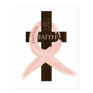 Postal Cinta-Cruz del rosa del superviviente del cáncer