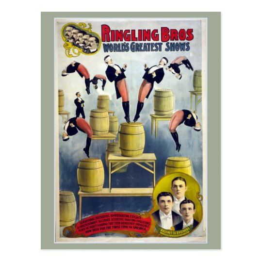 Postal Circo del vintage de Ringling Bros