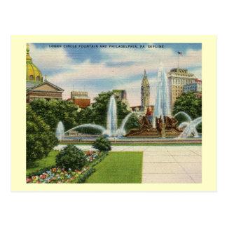 Postal Círculo de Logan, vintage de Philadelphia