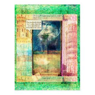 Postal Cita chistosa de la sabiduría de Shakespeare
