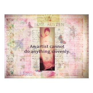 Postal Cita creativa sobre artistas de Jane Austen