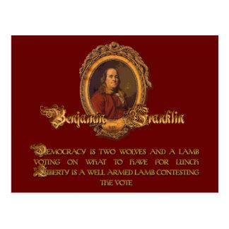 Postal Cita de Ben Franklin: Dos lobos y un cordero