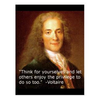 Postal Cita de la copia de Voltaire que piensa para sí