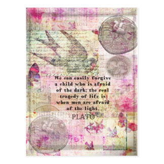 Postal Cita de Platón sobre la vida, deshonestidad, miedo