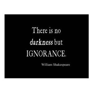 Postal Cita de Shakespeare ningunas citas de la oscuridad