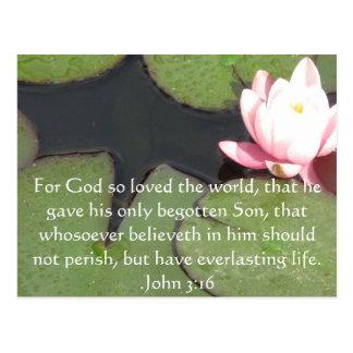 Postal Cita inspirada cristiana del 3:16 de Juan