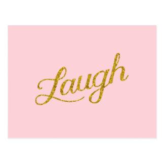 Postal Cita inspirada de la risa brillo rosado del oro