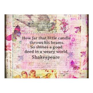 Postal Cita inspirada de Shakespeare sobre buenos hechos