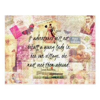 Postal Cita linda caprichosa del viaje de Jane Austen