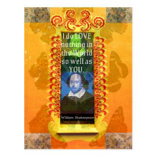 Postal Cita romántica del AMOR de William Shakespeare