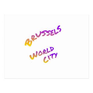 Postal Ciudad del mundo de Bruselas, arte colorido del