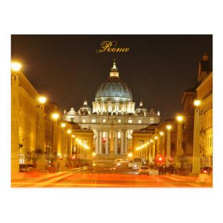 Postal Ciudad del Vaticano, Roma, Italia en la noche