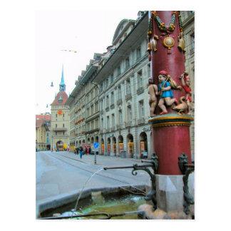 Postal Ciudad vieja de Berna - fuente adornada