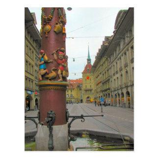 Postal Ciudad vieja de Berna - fuente y clocktower