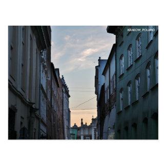 Postal Ciudad vieja de Kraków, con el texto de la ciudad