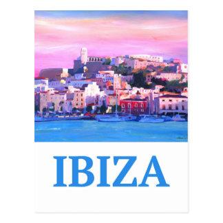 Postal Ciudad y puerto viejos de Ibiza del poster retro